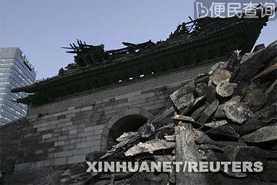 韩国首都首尔国宝第一号崇礼门发生大火烧毁